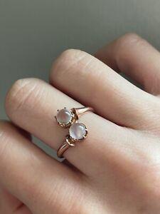 Antique moonstone moi et toi 18k rose gold ring Size 7.25