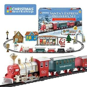 Deluxe Santa's Express Delivery Train Set Christmas Tree Sounds Lights 26 Pc