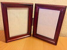 Vintage Dark Wood elegant & classic Double Photo Frame w/ bronze hinge.