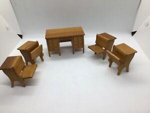 Vintage Miniature Dollhouse Furniture 4 Student & 1 Teacher Wooden School Desks