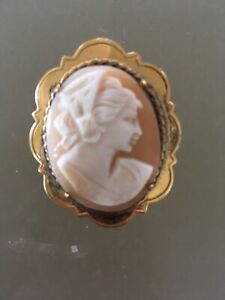 Vintage 2.5mg Gold Plated Carved Shell Cameo Brooch Pin In Need Of Repair