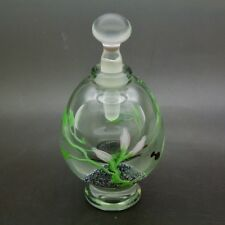 "PEET ROBISON dragonfly & Flowers art glass Elegant Perfume Bottle,Apr 4.75""Hx2""W"