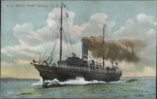 Steamship Ship BRUCE North Sydney Cape Breton c1910 Postcard
