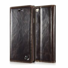 for iPhone SE / 5S - Brown Leather Folio Book Case Magnetic Wallet Pouch Cover