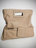 Ital. edle  Tragetasche Handtasche XL Clutch Ledertasche echt Leder Taupe 161T