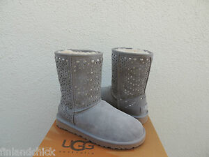 UGG LIGHT GRAY CLASSIC SHORT FLORA PERF SHEEPSKIN BOOTS,  US 7/ EUR 38~ NEW