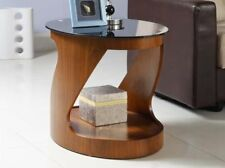 Jual Furnishings JF304 Curve Oval Lamp / Side Table In Walnut & Black Glass