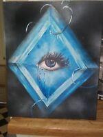 """Lucy"", acrylic, original, surrealism, signed, fantasy, diamonds"