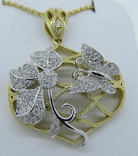 """14K Two Tone Gold  0.77ct Diamond Flower & Butterfly Pendant Necklace 18"""" Chain"""