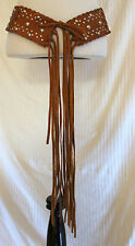 Vintage Brown Leather Hippie Boho Fringed Laced Cutwork Studded Belt sz M