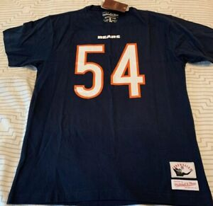 Chicago Bears Brian Urlacher Mitchell And Ness Blue L Large 05 Tee T-Shirt 54