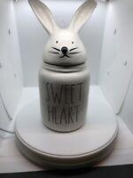"NEW RAE DUNN EASTER BUNNY-RABBIT   ""SWEET HEART"" CANISTER JAR, COFFEE TEA SUGAR"