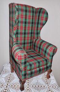 Rare1997 Dayton Hudson Santa Bear Chair Red & Green Christmas Plaid Fabric