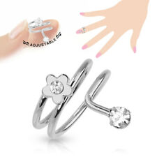 Simple Flower Cz Gems Adjustable Nail Ring / Toe Ring