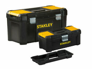 "STANLEY TWIN PACK 12"" & 19"" TOOL BOX CHEST BAG STORAGE REMOVABLE TRAY STA175772"
