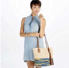 Brighton H72896 Parma Raffia Tote Straw Luggage Blue Ferrara Purse Bag