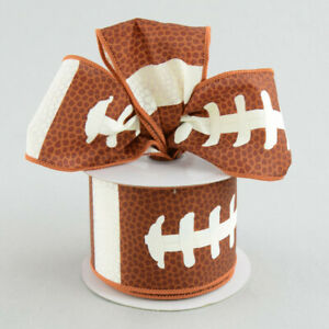"Football Wire-Edge Ribbon 2.5"" Gridiron*Pigskin*Sport*Wreath*Crafts (2 LENGTHS)"