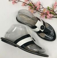 Ellen Tracy Selina Black & White Leather Thong Sandals Womens Size 6.5 M