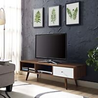 """Mid-Century Modern Wood Low Profile 55"""" TV Stand Media Center in Walnut White"""