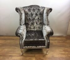 Champagne Crushed Velvet Queen Anne Wing Chair