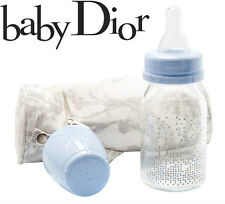 100%AUTHENTIC ExclusiveBABY DIOR Designer GLASS BOTTLE&HOLDER SET EXTREMELY RARE