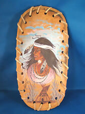 Native American Indian Woman Hand Painted On Wood Bowl Leather accents Signed @C