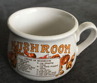 RETRO VINTAGE STYLE MUSHROOM RECIPE COLLECTABLE MUG GOOD CONDITION