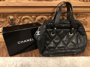 Authentic CHANEL Black Shimmer Quilted Matelasse Satchel Tote Bag-$5500
