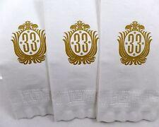 "3 Original DISNEYLAND Club 33 Paper Napkin hand towel lot unused 17x17"" Vintage"