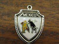 Vintage silver MEXICO COUNTRY BULL FIGHT MATADOR ENAMEL TRAVEL SHIELD charm #E3