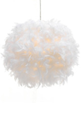 Waneway White Feather Ceiling Pendant Light Shade, Non-Electrical Lampshade for