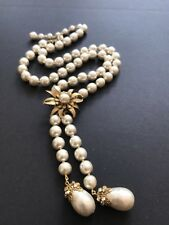 "Sign Miriam Haskell Pear Shape Baroque Pearl Rhinestone Necklace 26"" Long"