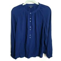 J.CREW Womens Button Front Blouse Navy Blue Bishop Long Sleeve Top L