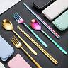 5Pcs/Set Portable Stainless Steel Reusable Cutlery Travel Chopsticks Fork Spoon