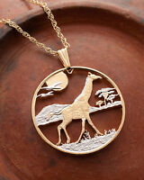 Giraffe Pendant and Necklace, Giraffe Coin Hand Cut, 1 1/2 in Dia., ( #920  )