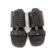 Robert Clergerie Women's  Brown Leather Chunky Heel Slide Sandals Sz 8 M