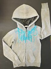 FOX RIDERS COMPANY FUR LINED HOOD HOODIE ZIP UP JUNIOR WOMENS XS GIRLS GRAY BLUE