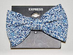 NWT Express Men's 100% Cotton Blue Floral Liberty of London Bow Tie O/S