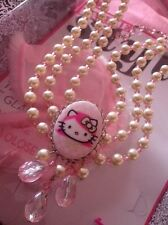 Collana Tarina Tarantino Hello Kitty pink head necklace 3 fili di perle e cameo
