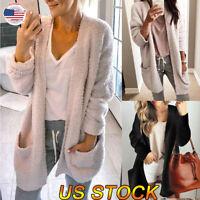 Women Long Sleeve Loose Sweater Knitted Cardigan Coat Big Pocket Jacket Outwear