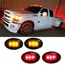 Ford F350 F-Series 4pc LED Fender Bed Side Marker Lights Smoked Lens EO
