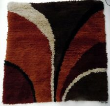 """Hand Hooked Wool Shag Rug Mid Century Modern Wall Hanging Vintage Colors 38x38"""""""