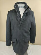TOMMY HILFIGER MENS GRAY PEACOAT OVERCOAT HOODED WOOL...