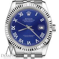 Men's Rolex 36mm Datejust Blue Color Roman Numeral Dial Watch