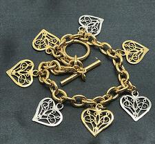 BICOLOR Ankerkette Armband Gelbgold Weißgold Herz Kette 585/14K ca. 18cm  12,3 g