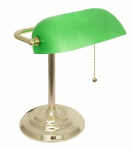 Bankers Lamp Desk Lamp with Polished Brass with Green Shade by Light Accents