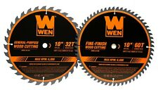 "Wen Bl1032-2 10"" 32/60-Tooth Carbide-Tipped Woodworking Saw Blade Set, Two Pack"