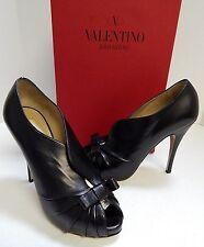 Valentino Black Nappa Leather Peep Tote Stiletto Booties 37 US sz 6.5 M w/ Box