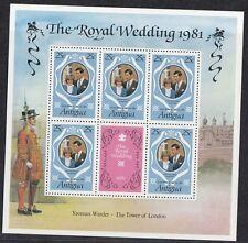 Antigua 1981 Minifoglio Matrimonio reale Mf 623 Mnh