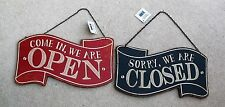 COME IN WE ARE OPEN  SORRY WE ARE CLOSED REVERSIBLE RED & BLACK CAFE SHOP SIGN
